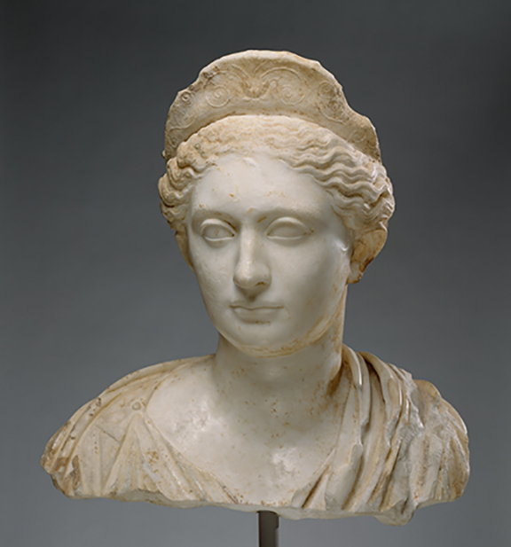 Marble bust of Unknown woman, Roman c. 130 AD