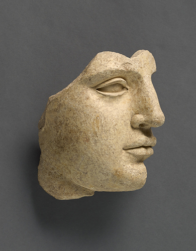 Fragment of a Head, Greek (South Italian, Tarentine) c. 220-430 BC., Terracotta with clay slip